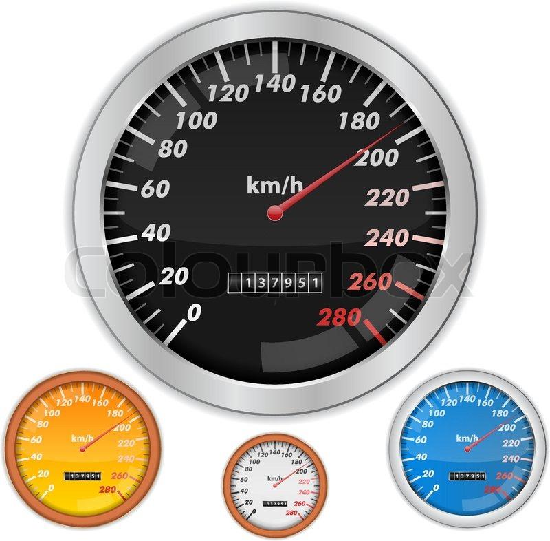 Vector speedometers on white       Stock vector   Colourbox