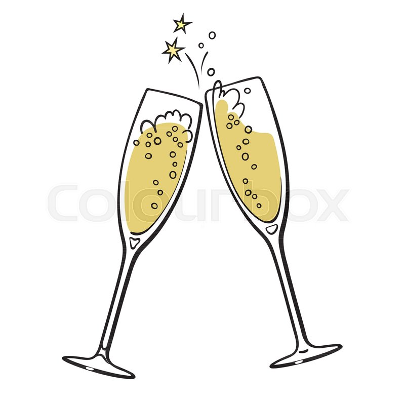 two sparkling glasses of champagne merry christmas and happy new year design element retro style vector illustration stock vector colourbox
