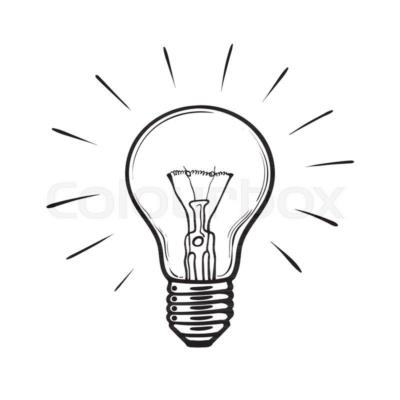 Sketch Of Glowing Light Bulb Creative