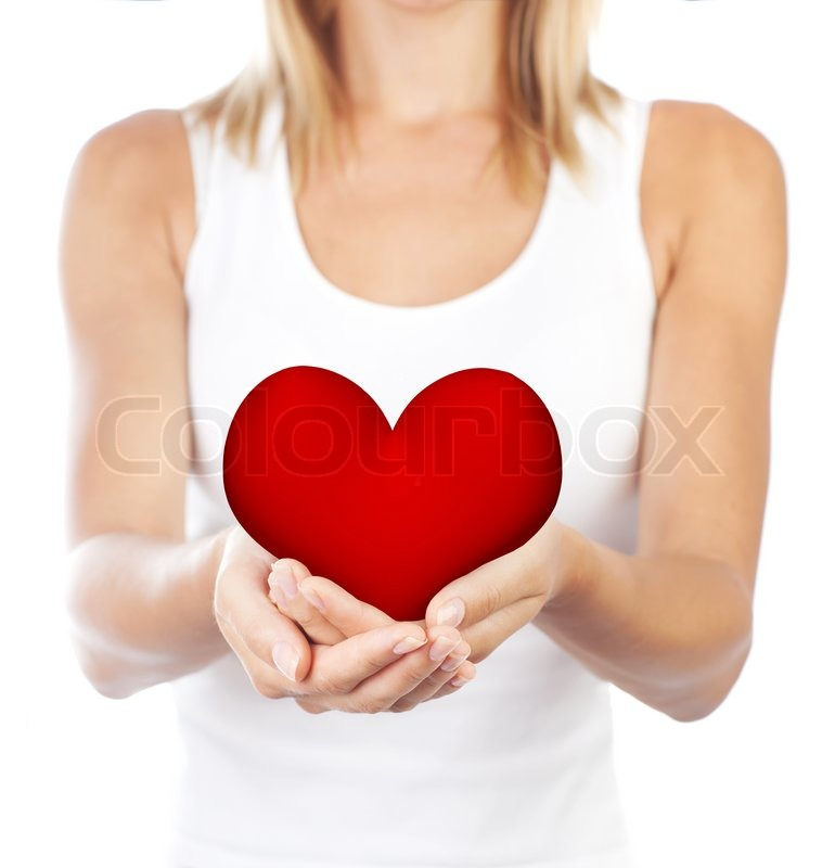 Healthy woman holding heart in hands, female body isolated on ...