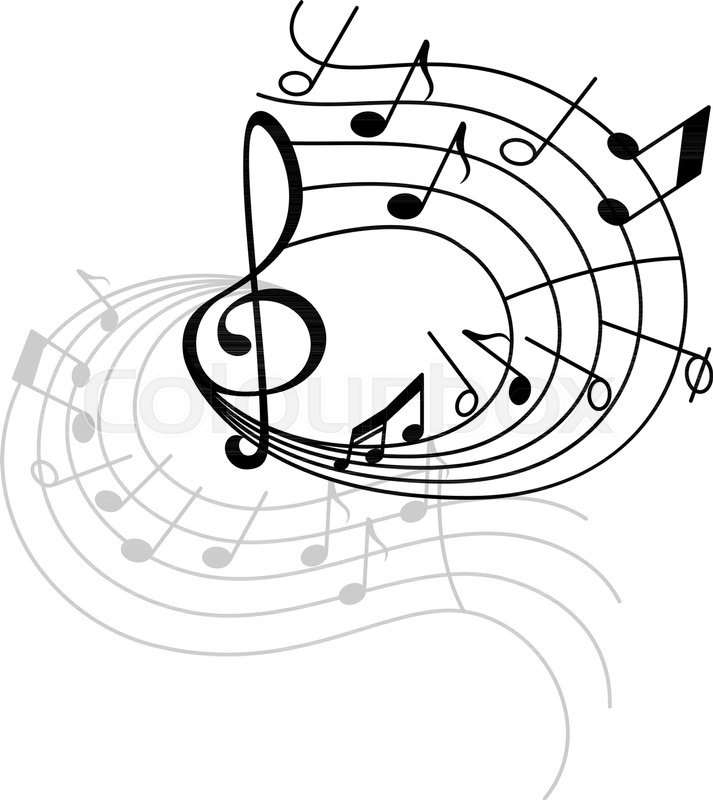 Music Note Stave Swirl Icon With Shadow Musical Note And Treble