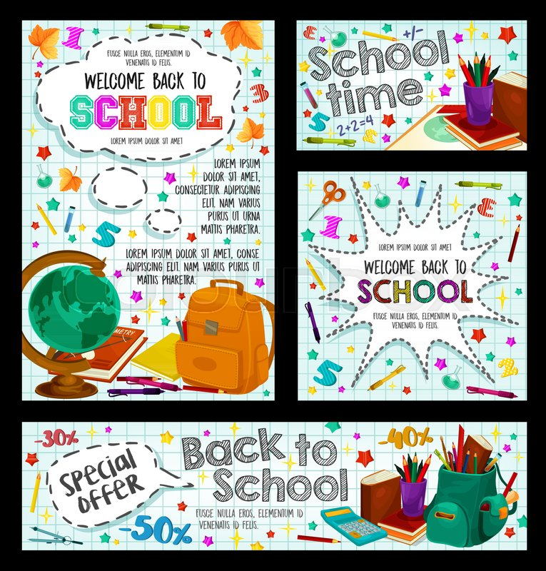 Back To School Poster Set Of Education Stock Vector Colourbox