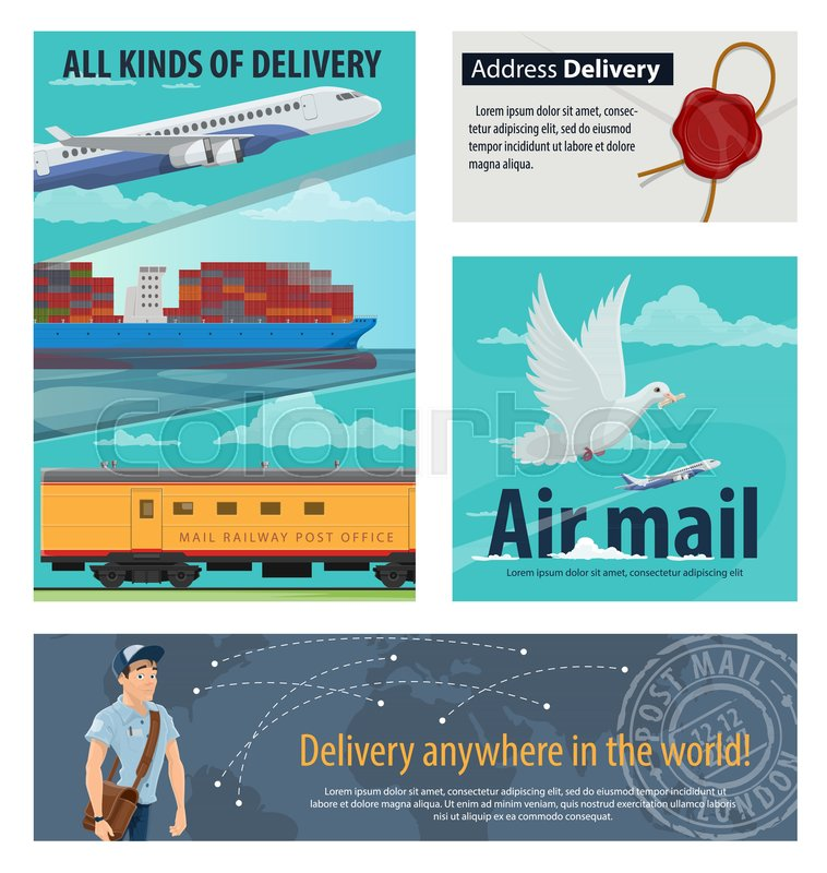 Mail delivery banner for postal service design airmail plane banner for postal service design airmail plane railway post office and packaging delivery cargo ship postman letter and delivery tracking world map gumiabroncs Choice Image