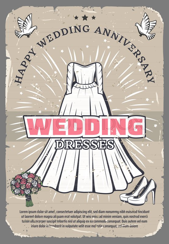 happy wedding anniversary greeting card template white bride dress