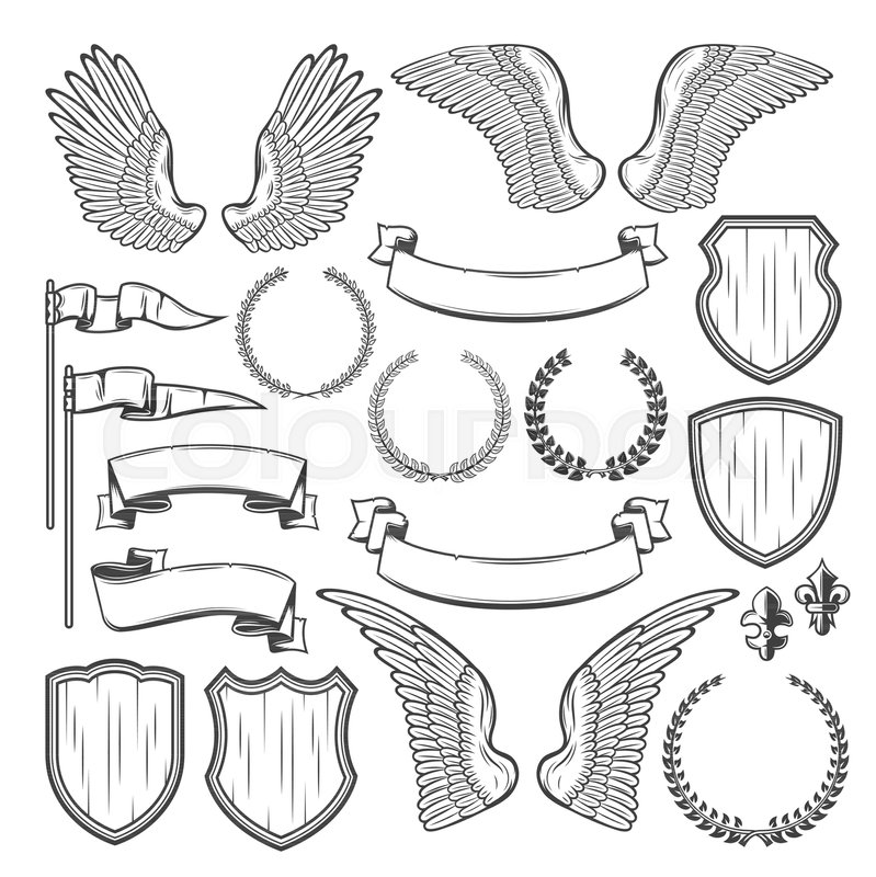 Heraldry Shield Wing And Laurel Wreath Vintage Ribbon Banner Flag Victorian Fleur De Lis For Coat Of Arms Template