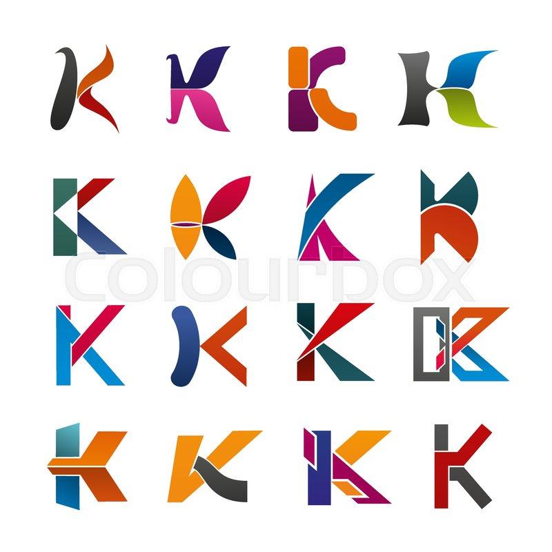 letter k icon of abstract alphabet font for business branding design