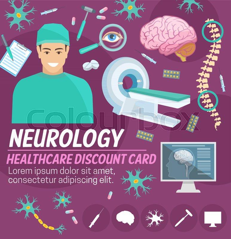 Neurology medicine discount card for       Stock vector