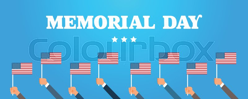 Memorial Day USA Greeting Card Wallpaper Hands Hold National American Flag With Stars On Blue Background Flat Design Vector Illustration