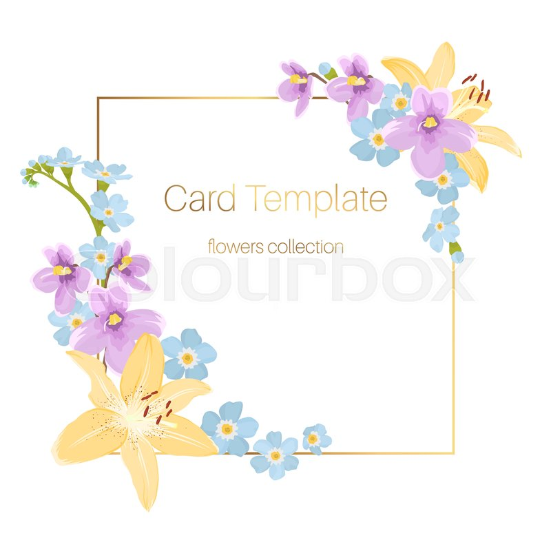 lily viola forget me not floral card border frame template on white