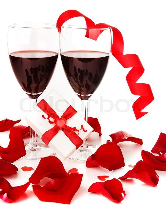 Romantic Holiday Gift Feier Mit Rotwein Mit Herzen