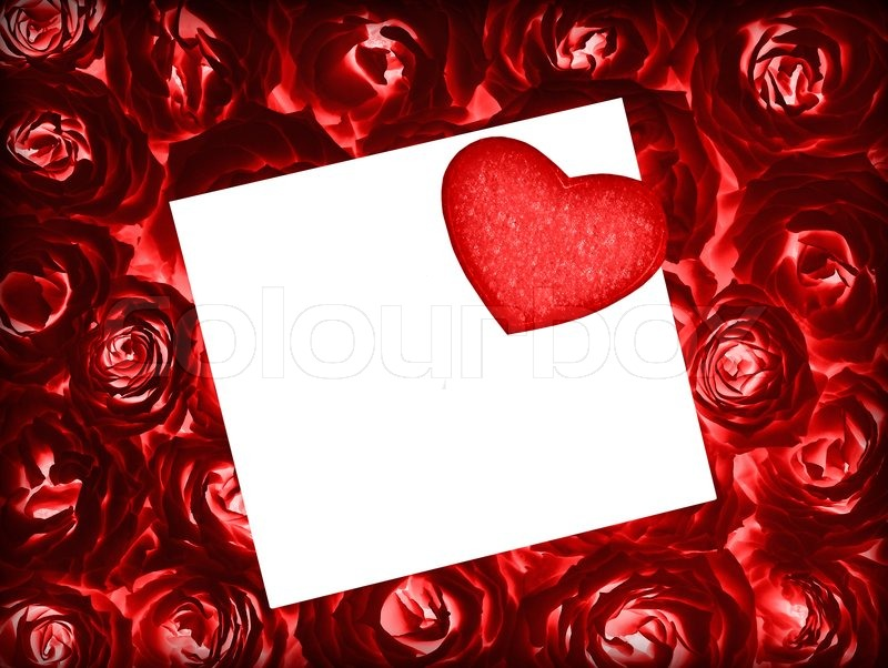 Red Fresh Roses Background With Red Heart And Blank White Greeting