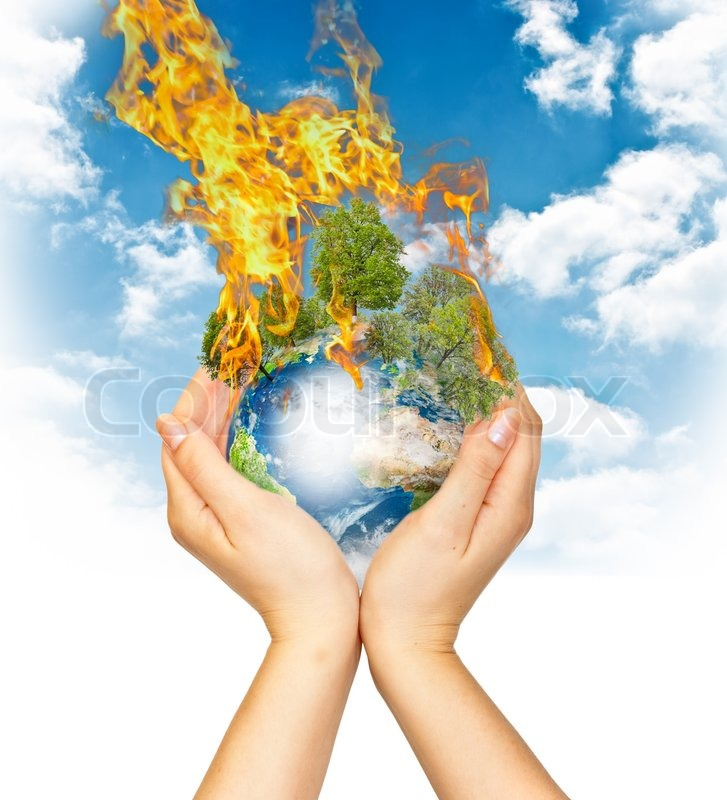 Womanish Hands Holding Burning Earth As A Symbol Of Global