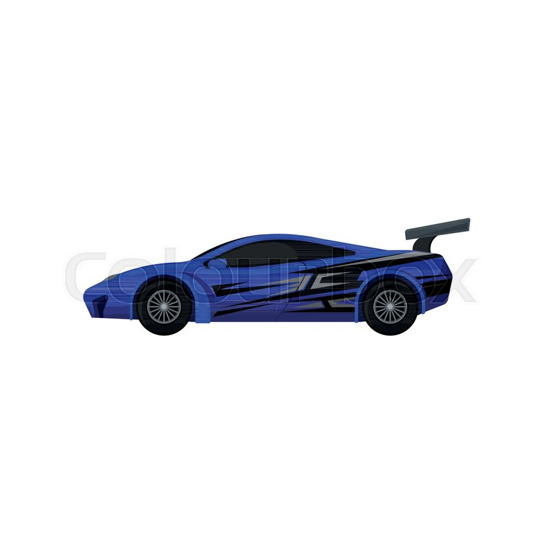 Illustration Of Blue Racing Car With Tinted Windows And Spoiler