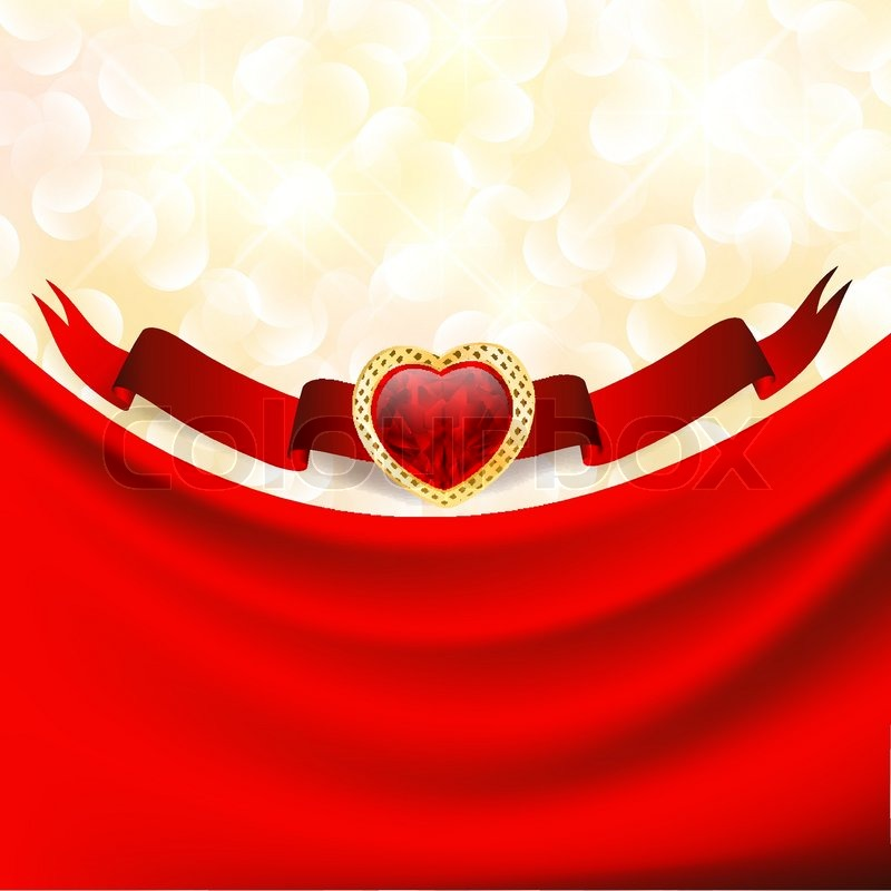 Ruby Heart At Banner With Red Drapery Valentine