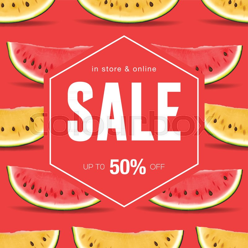 Sale Discount Social Media Template For Online Store Watermelon - Mediatemplate