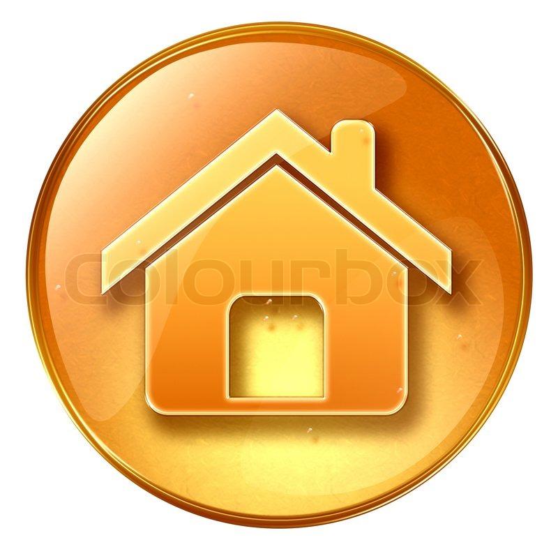 Home Icon Yellow Isolated On White Stock Photo