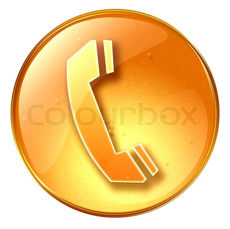 Phone Icon Yellow Isolated On White Background Stock
