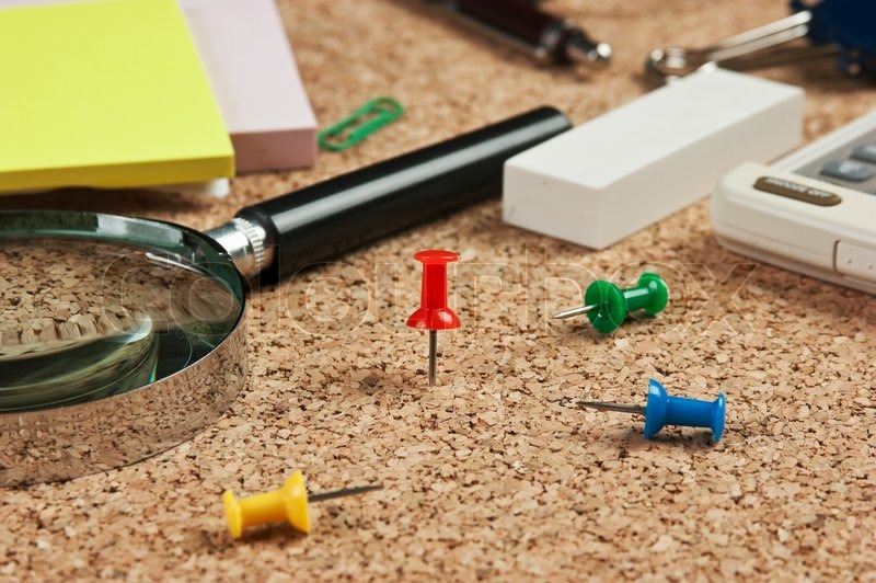Stationery in a mess on the table, stock photo