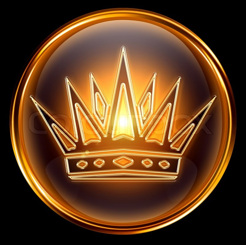 crown icon gold isolated on black background stock