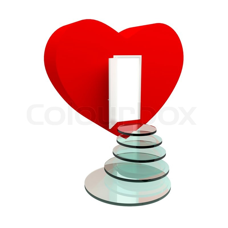 Red heart with an open door and steps Isolated on the white | Stock Photo | Colourbox  sc 1 st  Colourbox & Red heart with an open door and steps Isolated on the white | Stock ...