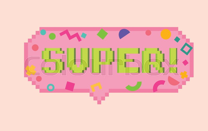 Vector Pixel Art 8bit Super Sticker Stock Vector