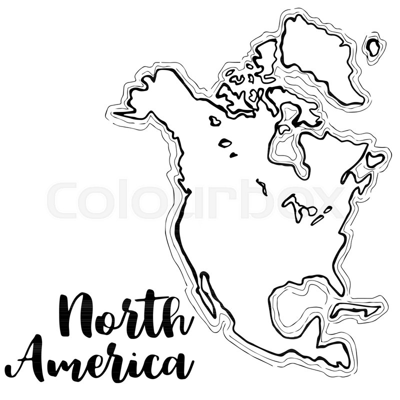 sketch map of north america Hand Drawn North America Map Stock Vector Colourbox