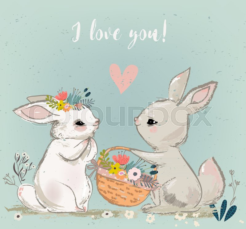 Download Cute Hares Couple Kossing Vector Stock Vector Colourbox