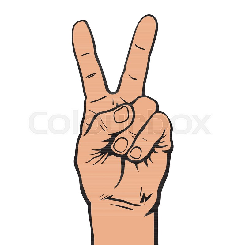 Hand With Two Fingers Up Victory Or Peace Symbol Letter V In Sign