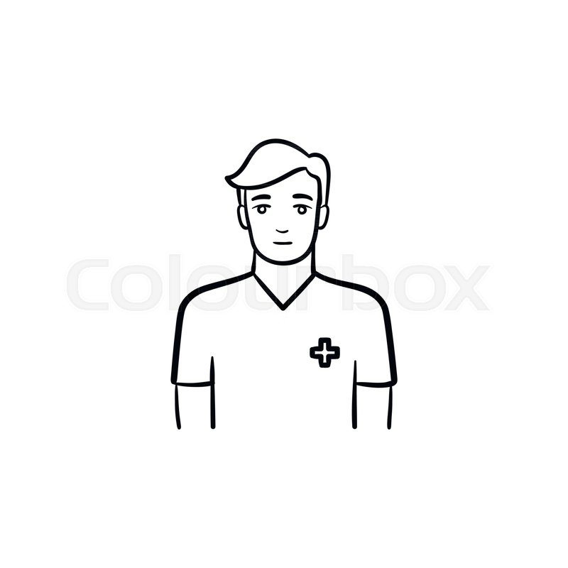 male nurse hand drawn outline doodle icon man in the uniform