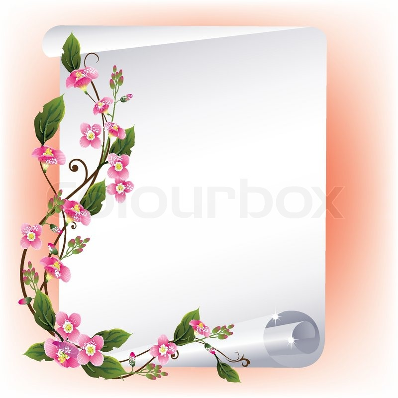 Vector frame with beautiful flowers | Stock Vector | Colourbox