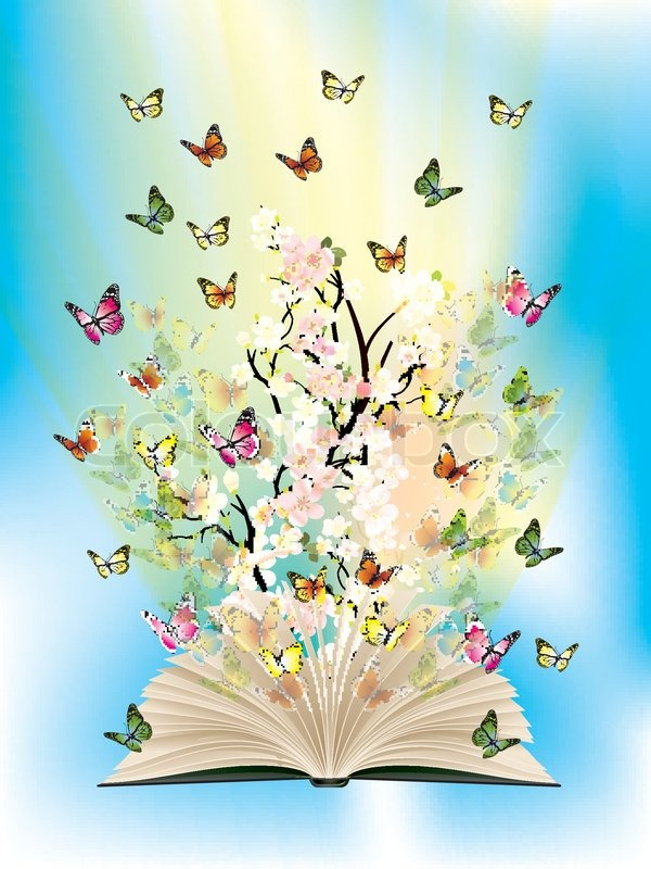 Modern Classroom Vector ~ Open book with butterflies flying from it stock vector