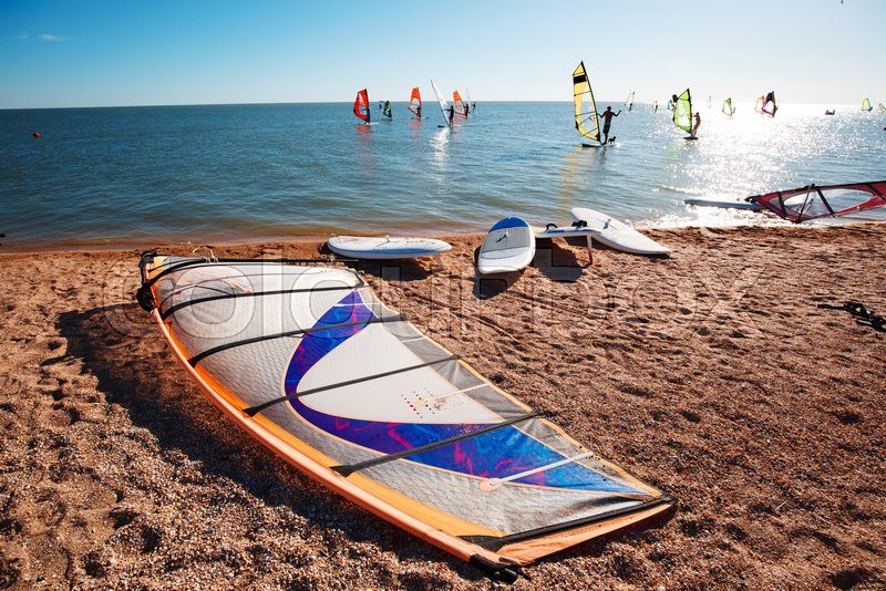 Windsurf boards on the sand at the     | Stock image | Colourbox