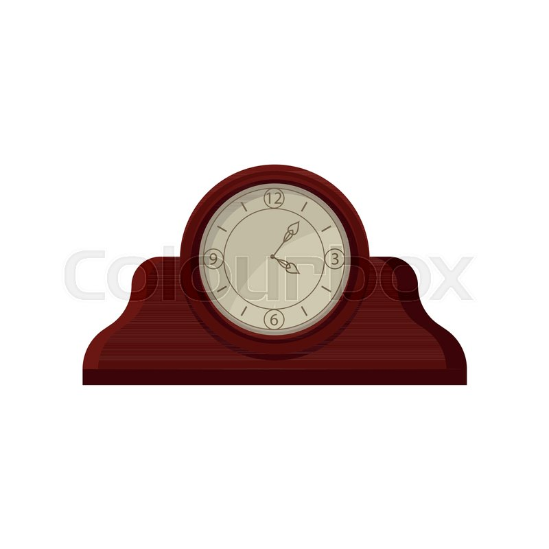 Vintage Wooden Table Desk Clock With Stock Vector Colourbox