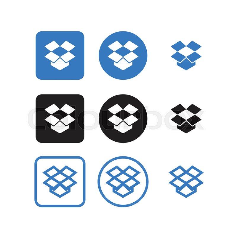Collection Of Dropbox Social Media Icons Vector Stock Vector