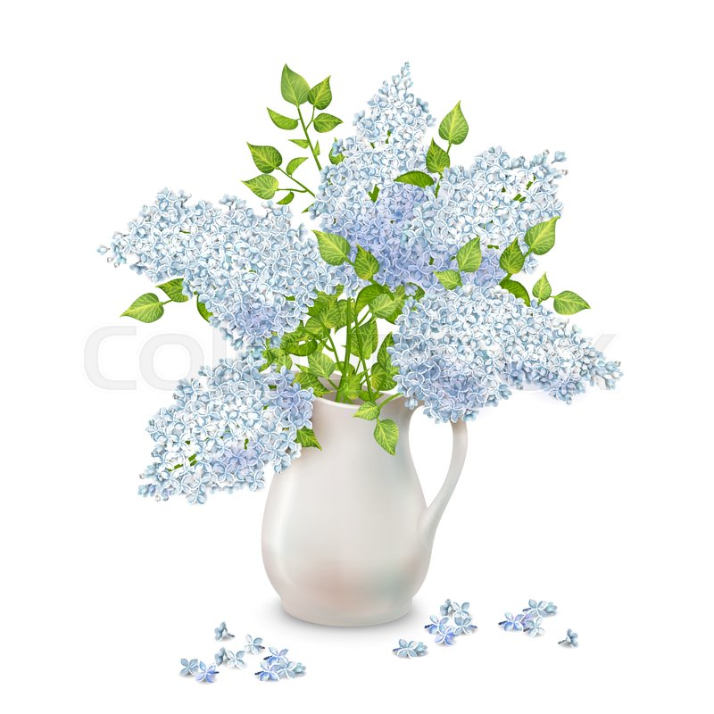 Vector Bouquet Of Lilac In A Vase With Fallen Flowers On White