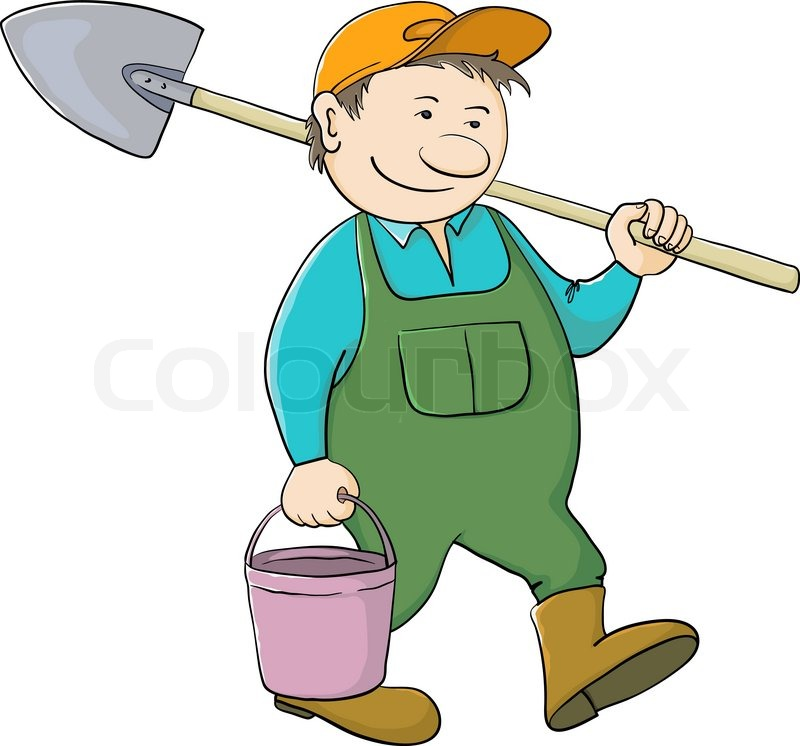 Man Gardener With A Bucket And A Shovel Goes To Work In A
