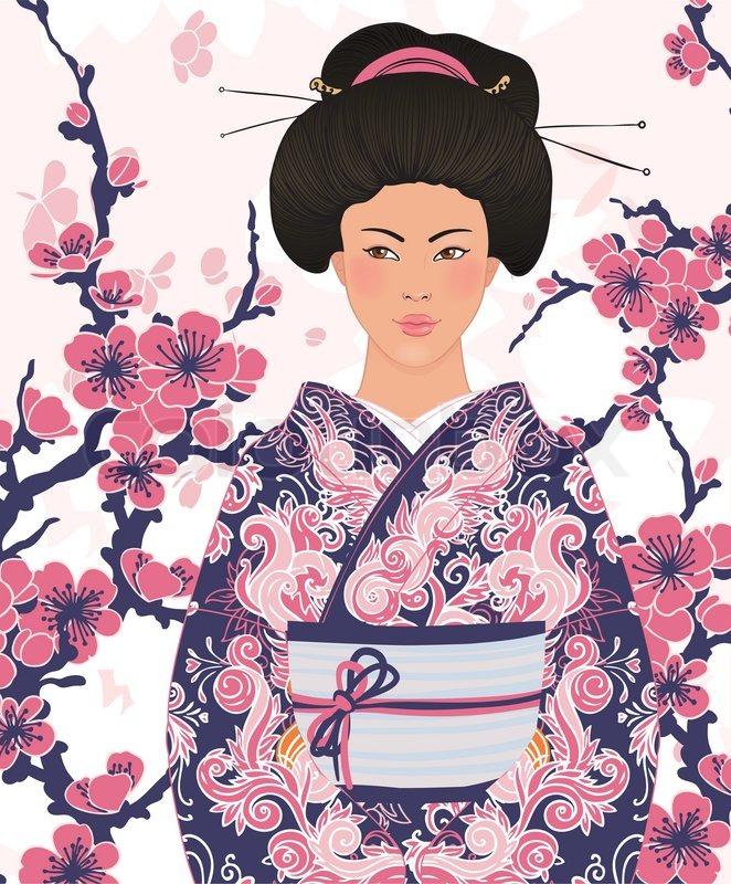 Beautiful Japanese Woman In Kimono Traditional Dress