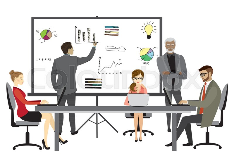people working on computer flat style cartoon presentation or