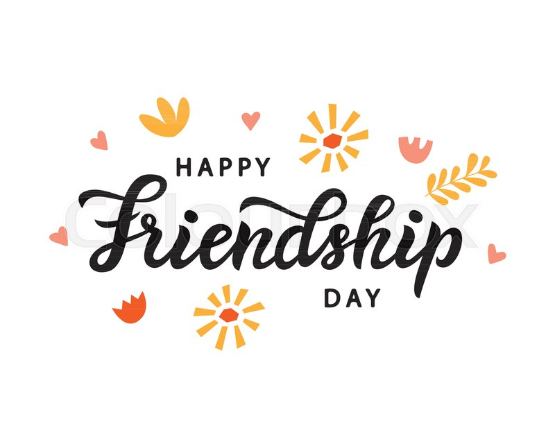 happy friendship day cute poster hand written brush lettering