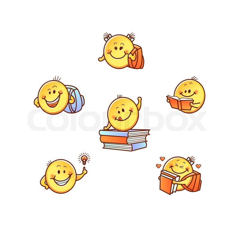 Funny Hand Drawn Children Student Smile Emoji Faces With Arms Cute