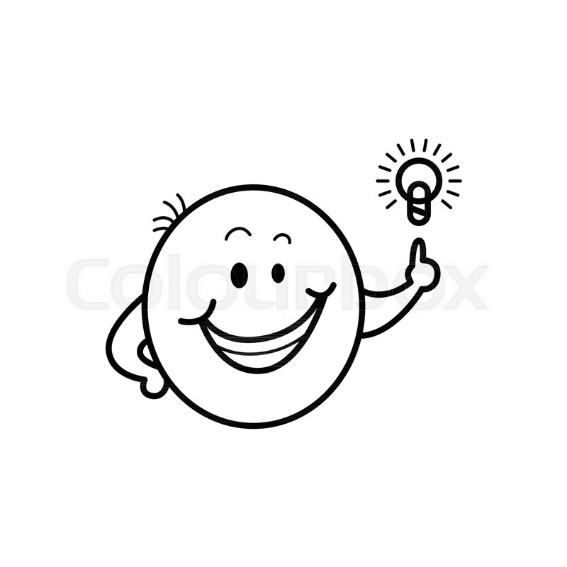Cute Male Smiley Face Or Emoticon In Sketch Style Smiling With Idea