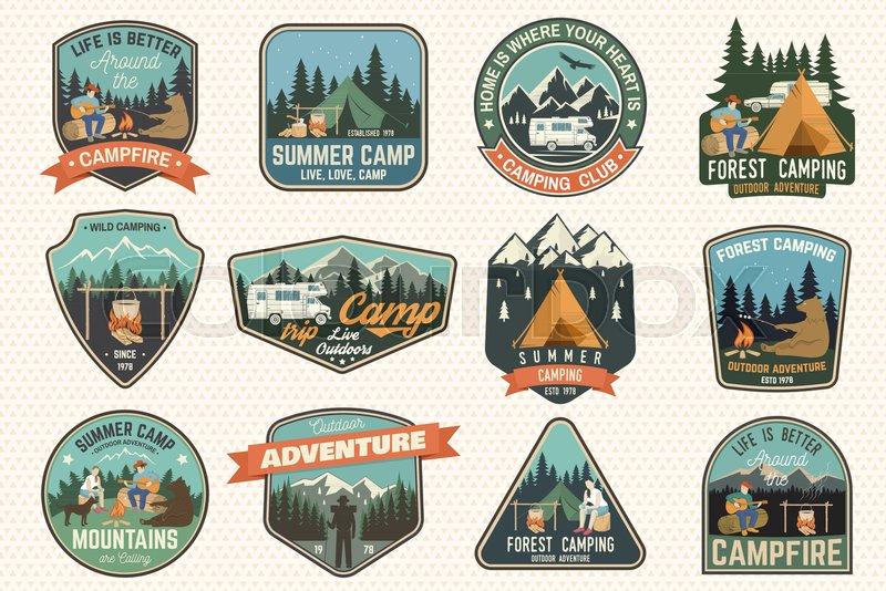 6d284fddc030 Set of Summer camp badges. Vector. ...