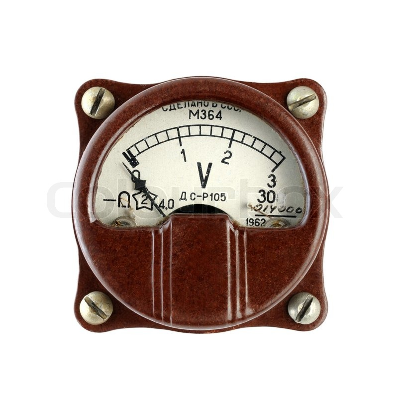 Antique Electrical Measuring Instruments : Old voltmeter isolated on white background stock photo