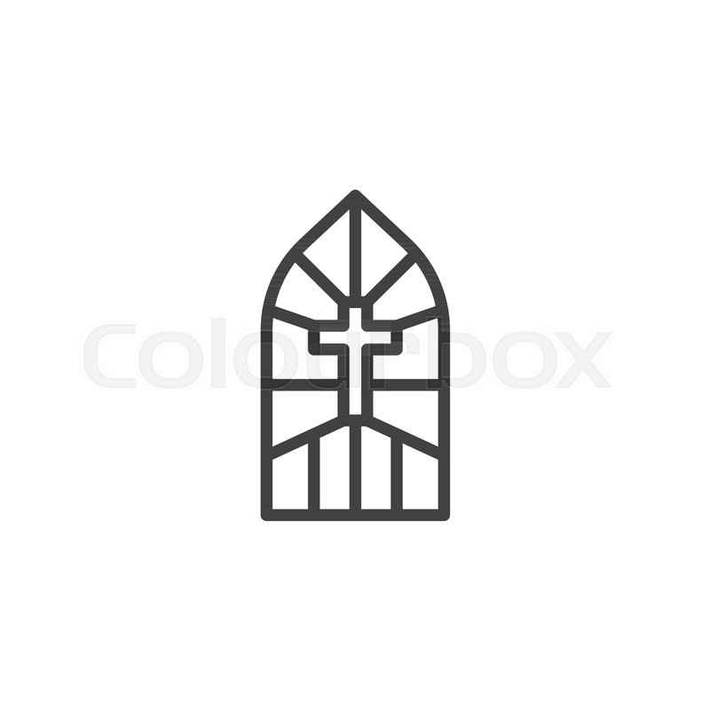 Church Stain Glass Window Outline Stock Vector Colourbox
