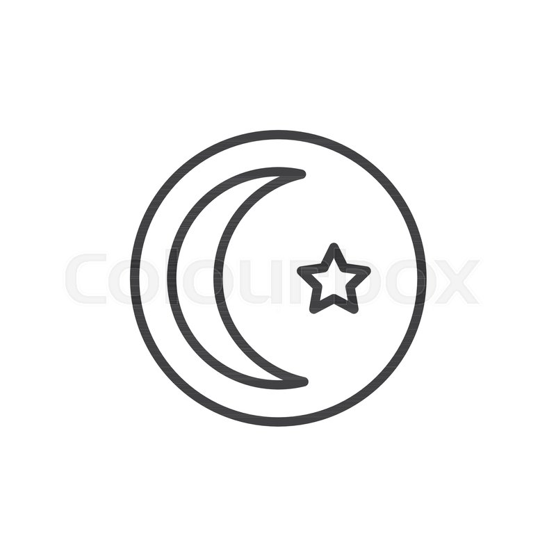 Crescent Star Outline Icon Linear Style Sign For Mobile Concept And