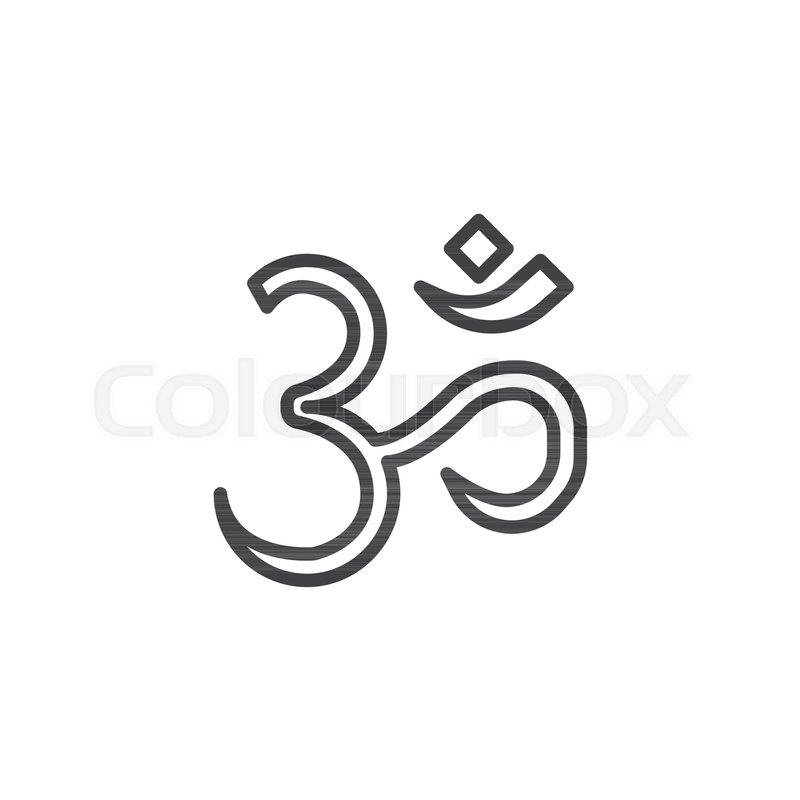 Om Aum Outline Icon Linear Style Sign For Mobile Concept And Web