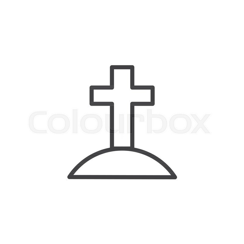 Calvary with cross outline icon      | Stock vector | Colourbox