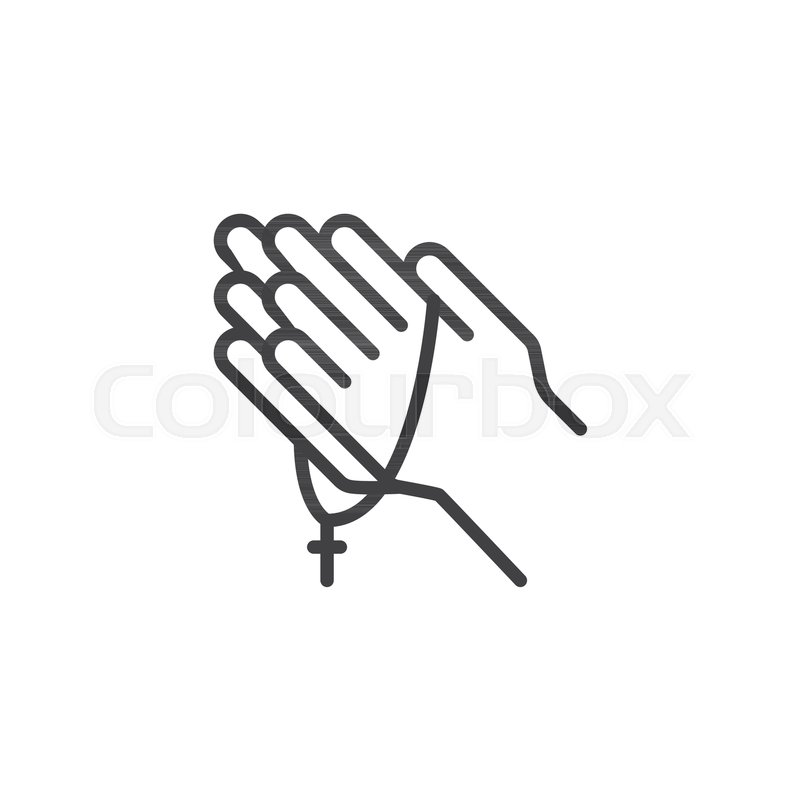 Praying Hands With Rosary Outline Icon Linear Style Sign For Mobile