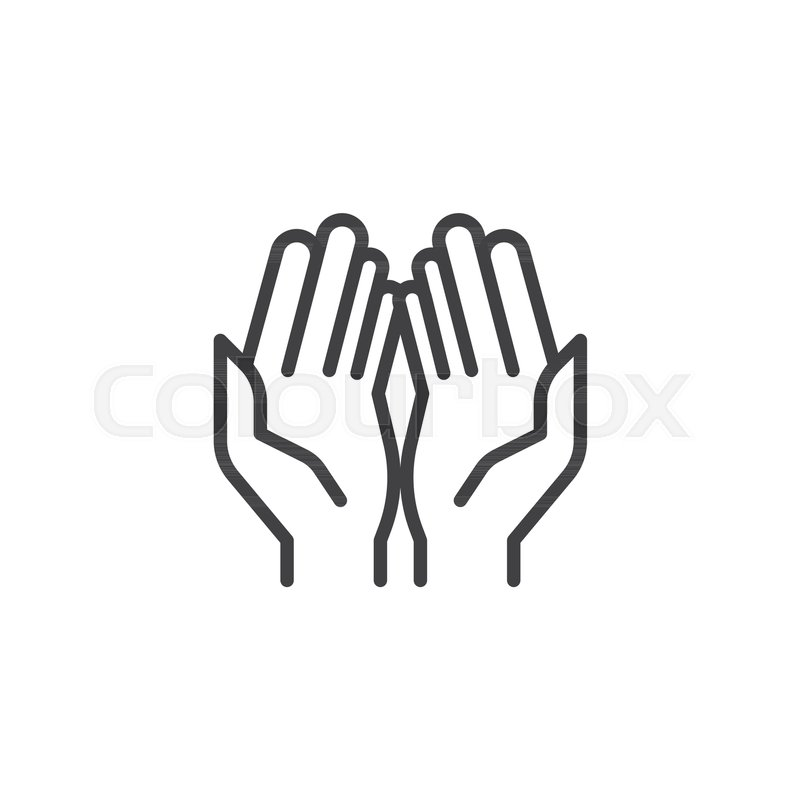 Prayer Hands Outline Icon Linear Style Sign For Mobile Concept And