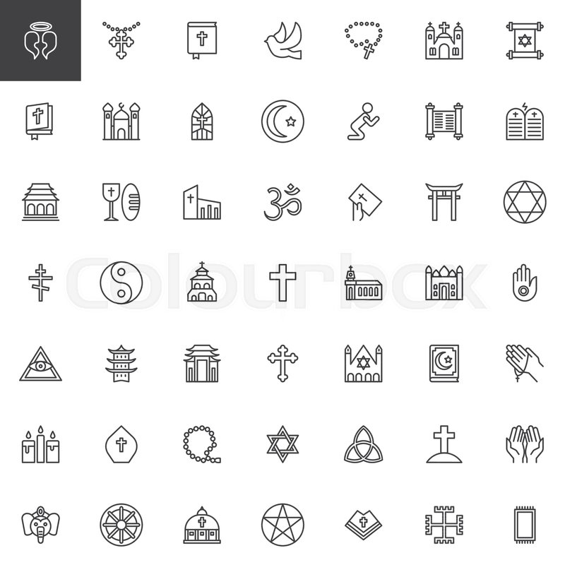 Religion Elements Outline Icons Set Linear Style Symbols Collection